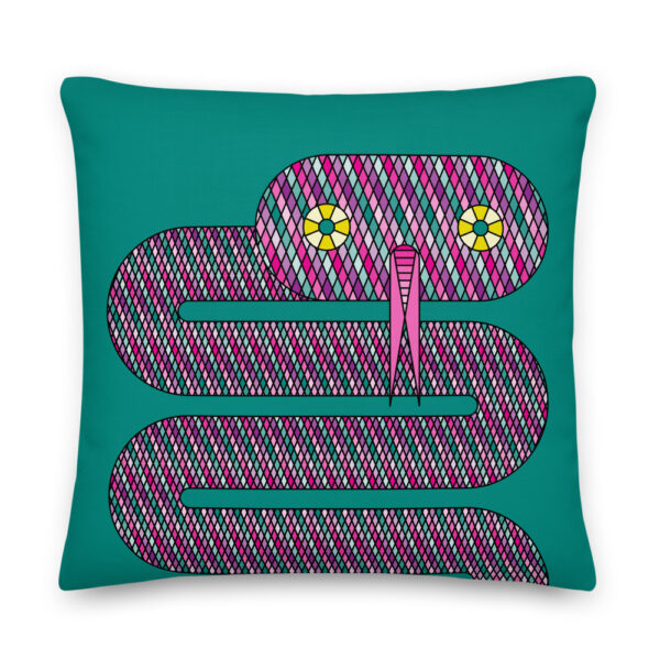 22 inch square pillow with a pink snake design on a teal blue background