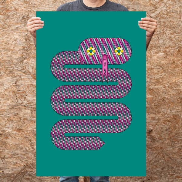 person holding a large vertical fine art print of a pink snake on a teal blue background