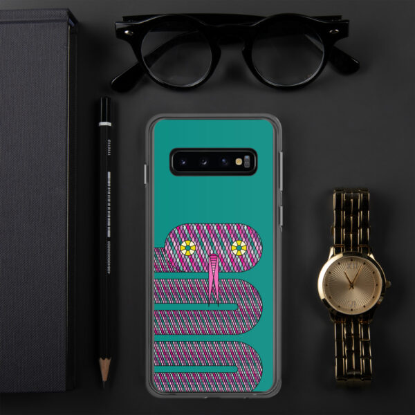 samsung phone case with a design of a pink snake on a teal blue background sitting next to a watch