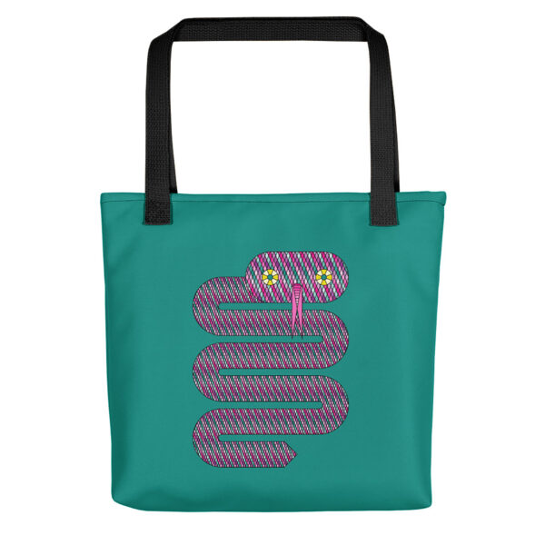 teal blue tote bag with a pink snake design and black handles