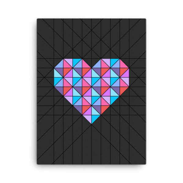 18 inch by 24 inch vertical stretched canvas art print of a pink and blue geometric heart design on a black background