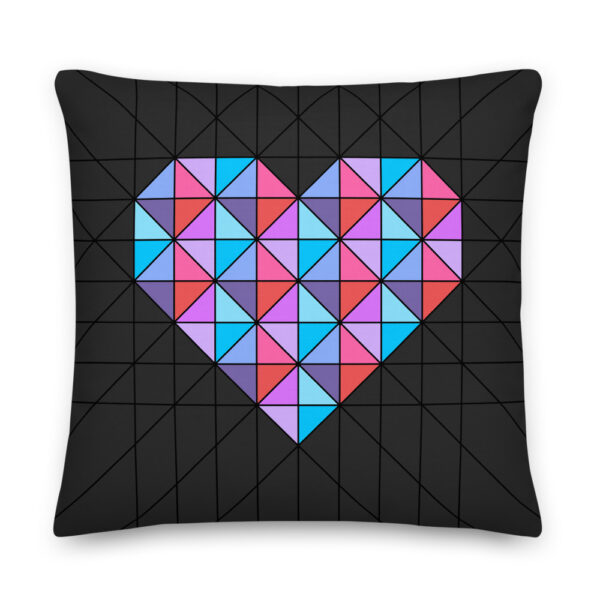22 inch square pillow with a pink and blue geometric heart design on a black background