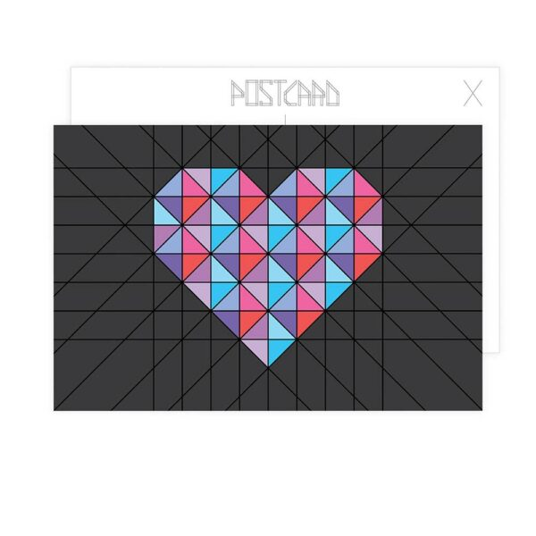 postcard with a pink and blue geometric heart design on a black background