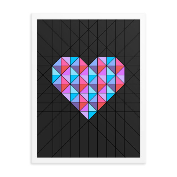 18 inch by 24 inch vertical fine art print of a pink and blue geometric heart design on a black background in a white frame