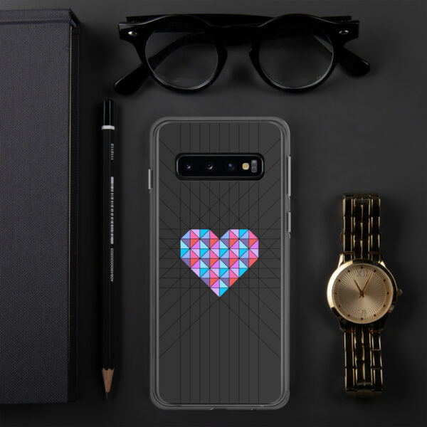 samsung phone case with a pink and blue geometric heard design on a black background sitting next to a watch
