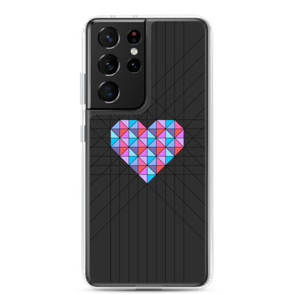 samsung galaxy s21 ultra phone case with a pink and blue geometric heard design on a black background