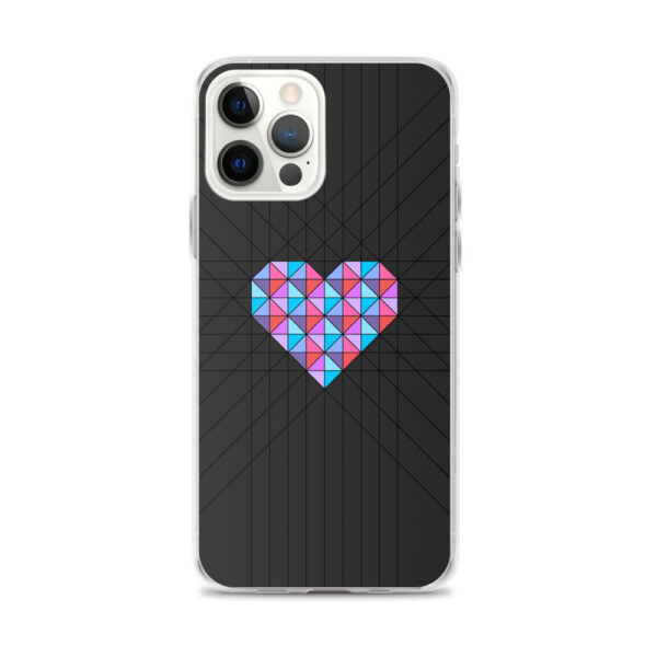 iphone 12 pro max case with a pink and blue geometric heard design on a black background