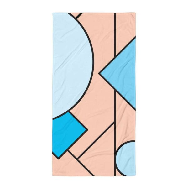 beach towel with an abstract design of blue and peach colored shapes