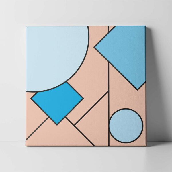 square stretched canvas print with an abstract blue and pink design