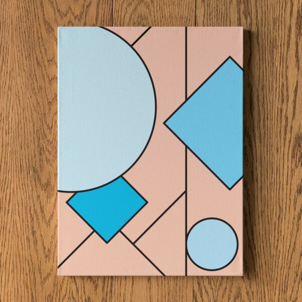 vertical stretched canvas print with an abstract blue and pink design hanging on a wall