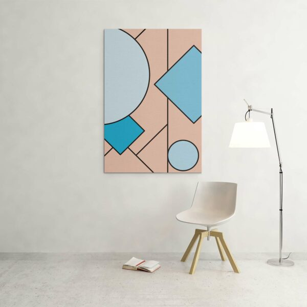 large vertical stretched canvas print with an abstract blue and pink design hanging on a wall