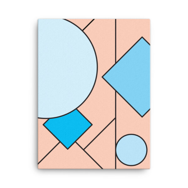 18 inch by 24 inch vertical stretched canvas print with an abstract blue and pink design