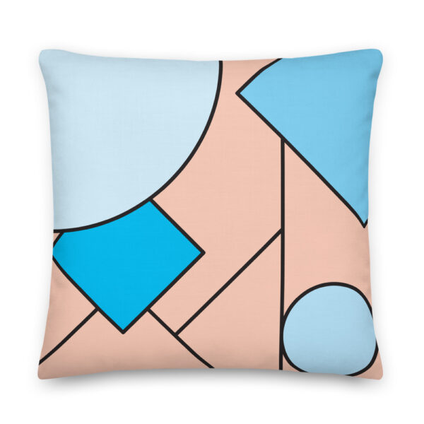 22 inch square pillow with an abstract design of blue and pink shapes