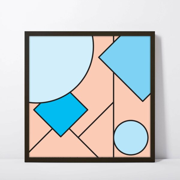 square fine art print with an abstract design of pink and blue shapes in a black frame