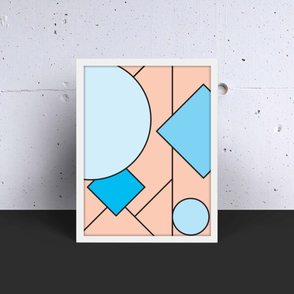 vertical fine art print with an abstract design of pink and blue shapes in a white frame