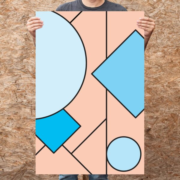 person holding a large vertical fine art print with an abstract design of pink and blue shapes