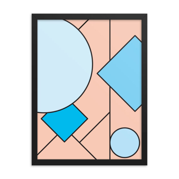 18 inch by 24 inch vertical fine art print with an abstract design of pink and blue shapes in a black frame