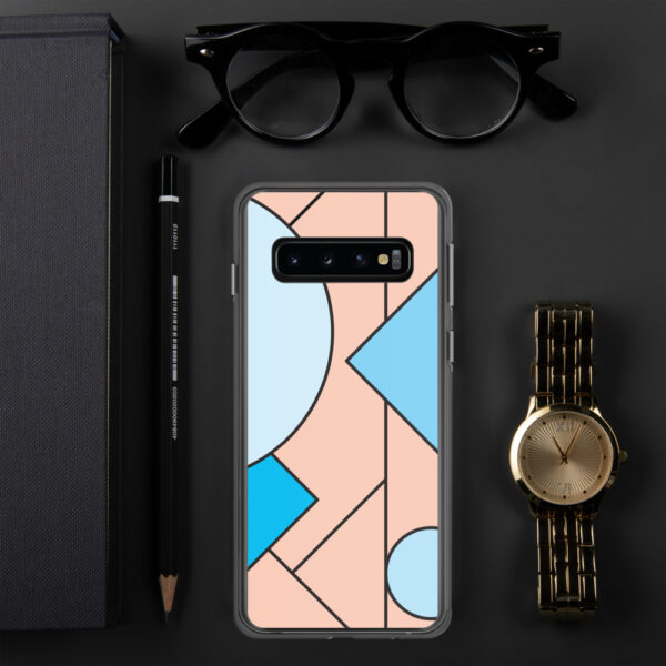 samsung phone case with an abstract design of blue and peach colored shapes sitting next to a watch