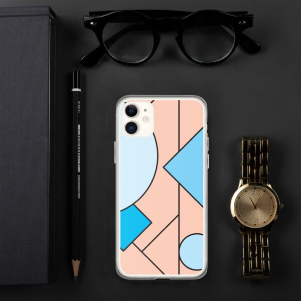iphone case with an abstract design of blue and peach colored shapes sitting next to a watch