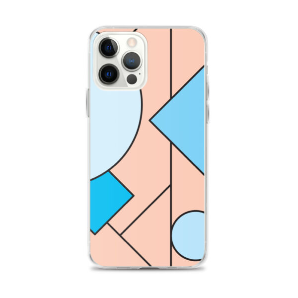 iphone 12 pro max case with an abstract design of blue and peach colored shapes