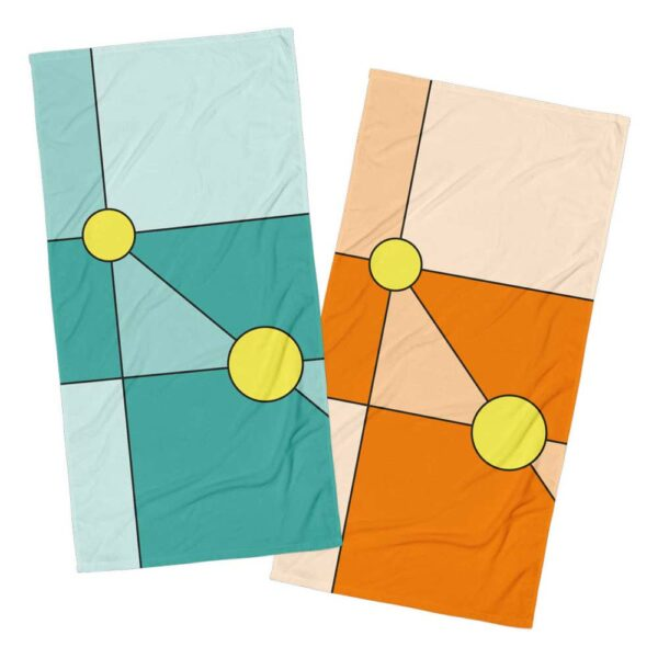 two beach towels with modern minimalist designs - one blue with two yellow circles - one orange with yellow circles