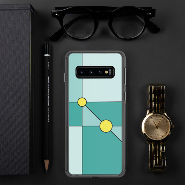 samsung phone case with a minimalist design of two yellow circles on a teal blue background sitting next to a watch