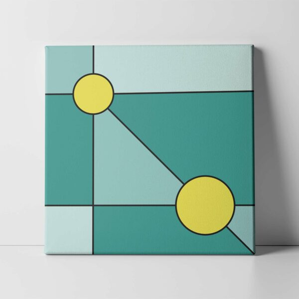 square stretched canvas print with a minimalist design of two yellow circles on a teal blue background