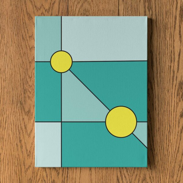 vertical stretched canvas print with a minimalist design of two yellow circles on a teal blue background hanging on a wall