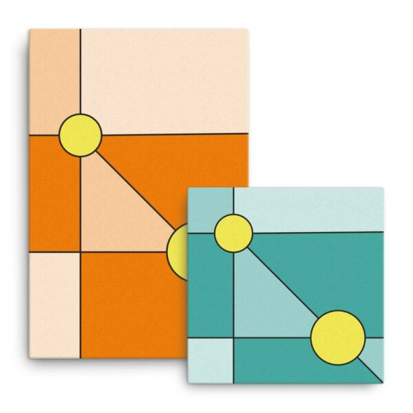 two stretched canvas prints with colorful minimalist designs