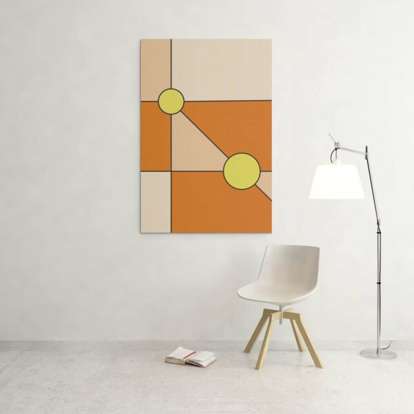 large vertical stretched canvas print with a minimalist design of two yellow circles on an orange background