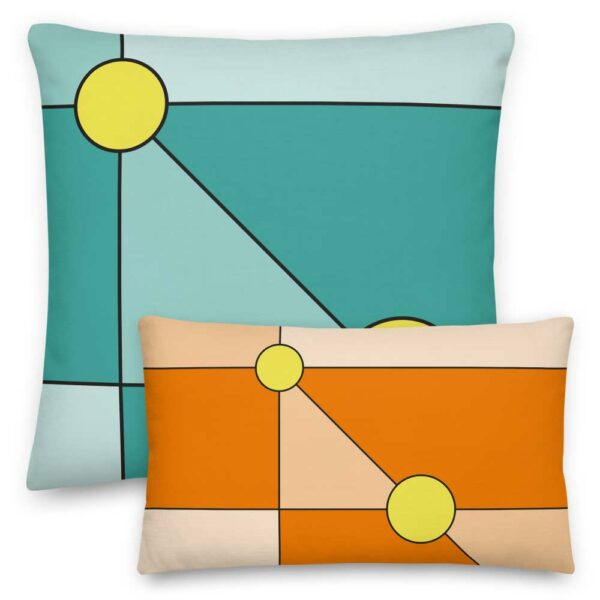 large square pillow with a minimalist design of two yellow circles on a teal blue background next to a smaller rectangle pillow with the same design on an orange background