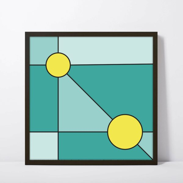 square fine art print with a minimalist design of two yellow circles on a teal blue background in a black frame