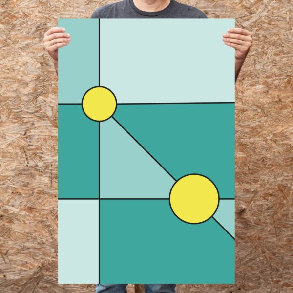 person holding a large fine art print with a minimalist design of two yellow circles on a teal blue background
