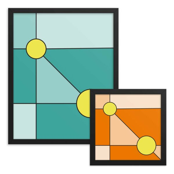 two framed fine art prints with minimalist designs of two yellow circles - one has a teal blue background - one has an orange background