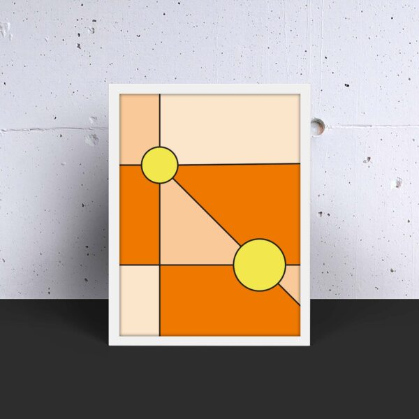 vertical fine art print with a minimalist design of two yellow circles on an orange background in a white frame