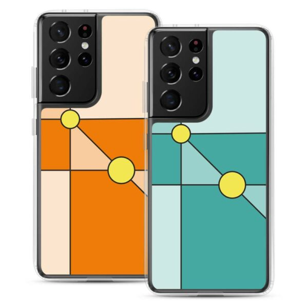 two samsung phone cases with minimalist designs of two yellow circles on orange or teal blue backgrounds