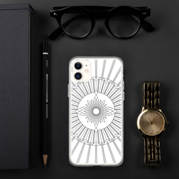 iphone case that has a geometric black line drawing on a white background sitting next to a watch