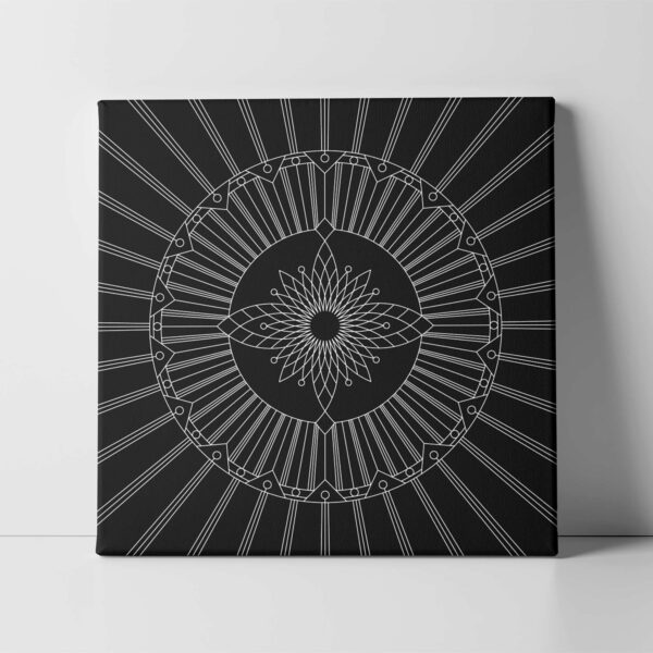 square stretched canvas art print with a geometric white line design on a black background