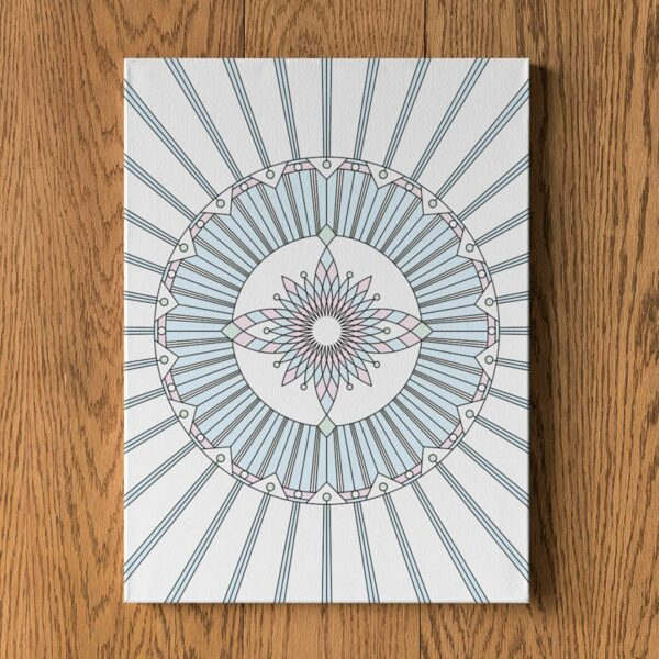 vertical stretched canvas art print with a geometric design in black lines and pastel colors on a white background hanging on a wall