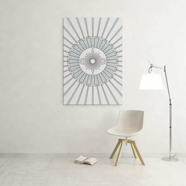 large vertical stretched canvas art print with a geometric design in black lines and pastel colors on a white background hanging on a wall
