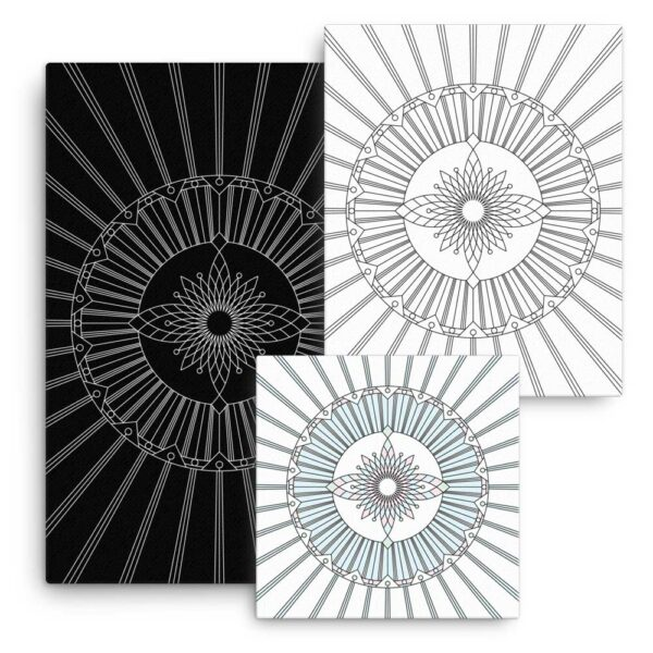 group of three stretched canvas art prints with geometric designs