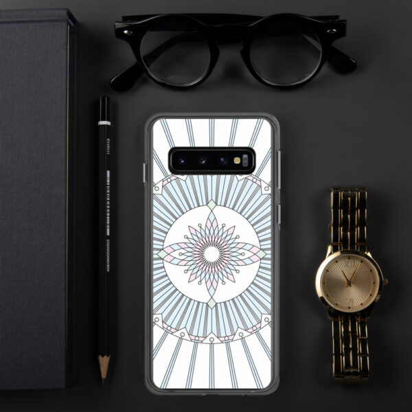 samsung phone case that has a geometric black line drawing and pastel colors on a white background sitting next to a watch