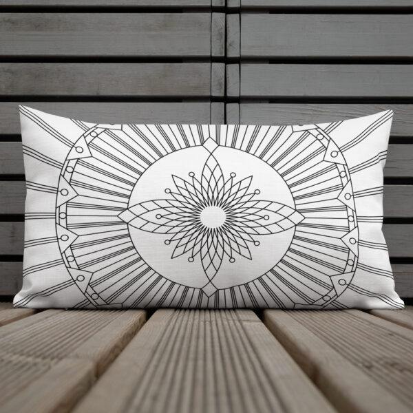 rectangle pillow with a geometric black line drawing on a white background