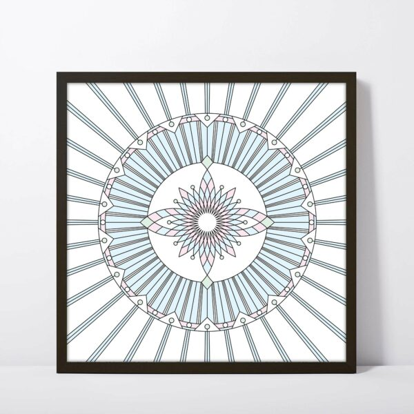 square fine art print with a geometric design in pastel colors in a black frame