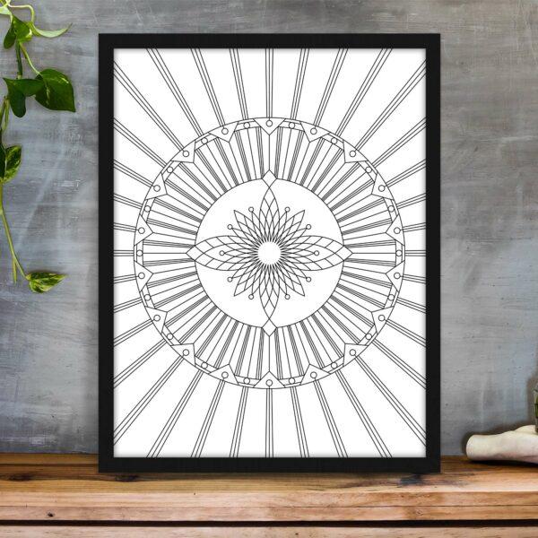 vertical fine art print with a black and white geometric design in a black frame
