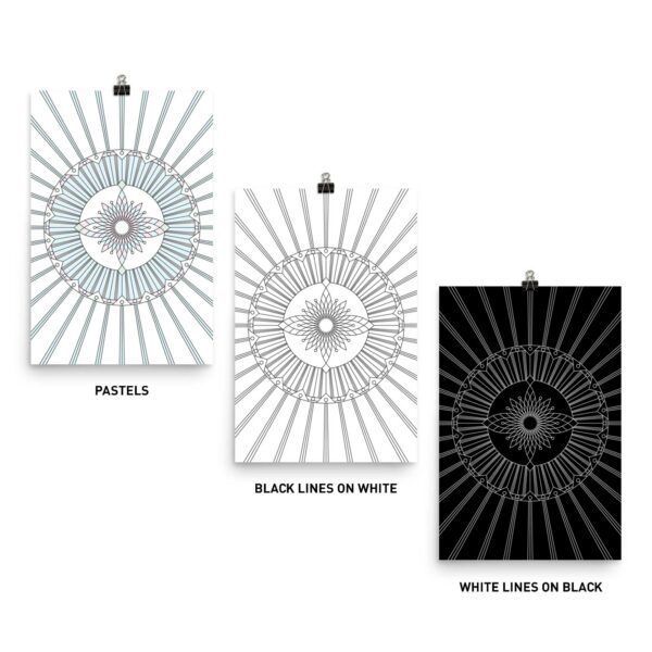 three fine art prints with the same geometric design - one in pastel colors with black lines - one with black lines on white - one with white lines on black