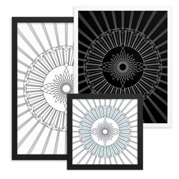 three framed fine art prints with geometric designs