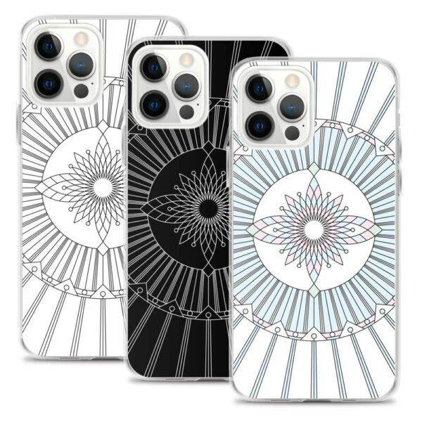 three iphone cases with geometric line drawings