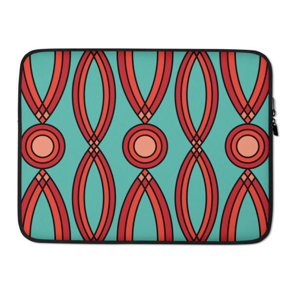 15 inch laptop sleeve with a geometric pattern of red shapes on a teal blue background
