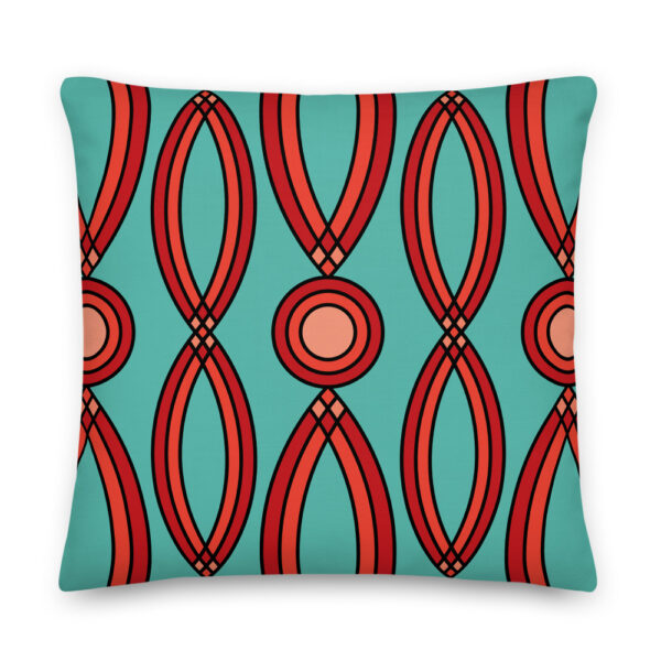 22 inch square pillow with a red geometric pattern on a teal blue background